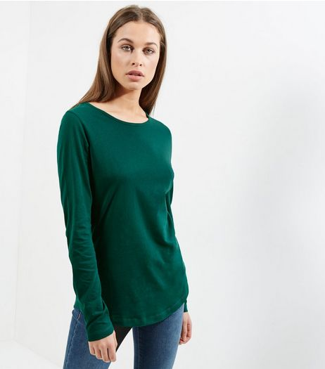 Tall Green Long Sleeve Crew Neck T-Shirt | New Look