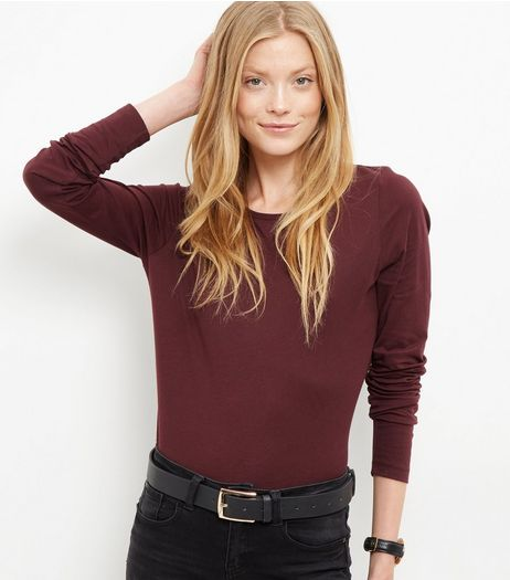 Tall Dark Purple Long Sleeve Top | New Look