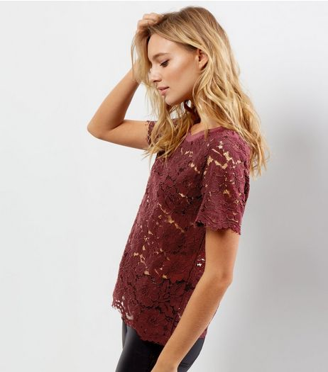 Burgundy Ribbed Neck Lace Short Sleeve T-Shirt  | New Look