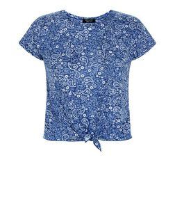 Teens Blue Paisley Print Tie Front T-Shirt | New Look