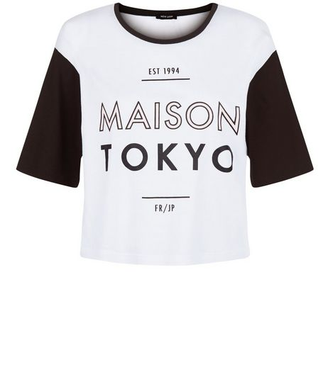 White Maison Tokyo Colour Block Crop T-Shirt | New Look