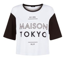 White Maison Tokyo Print Colour Block Crop T-Shirt | New Look