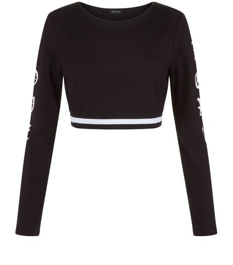 Black Love Long Sleeve Crop Top  | New Look