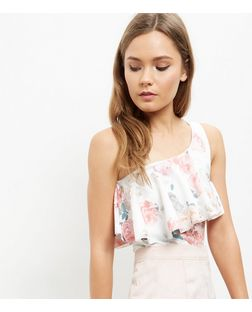 White Floral Print Frill Trim Bodysuit | New Look