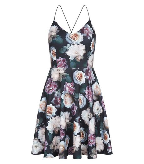 Petite Black Floral Print Skater Dress | New Look