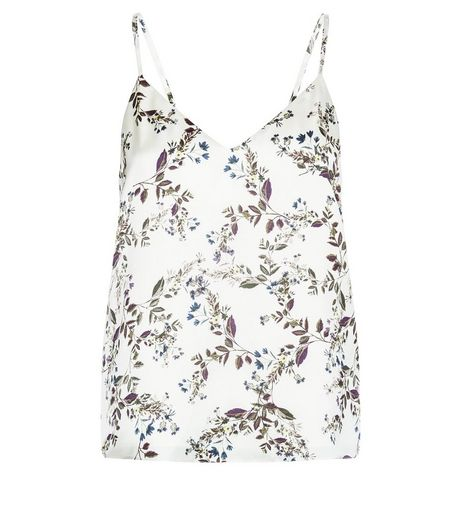 Petite White Floral Print Satin Cami | New Look
