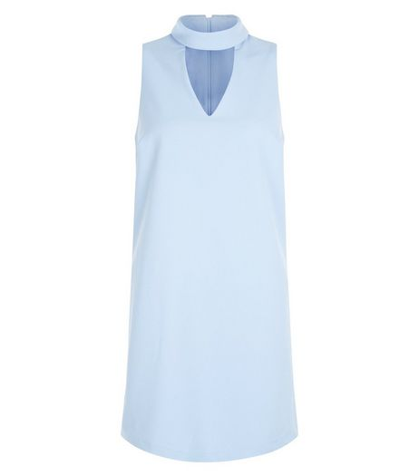 Petite Pale Blue Cut Out Shift Dress | New Look