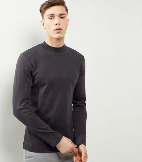 Dark Grey Cotton Turtle Neck Top | New Look
