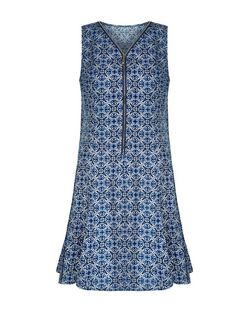 Apricot Navy Tile Print Zip Front Dress | New Look