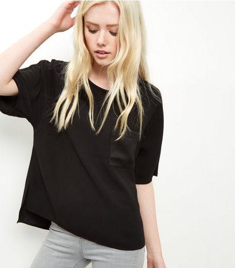 Black Sateen Single Pocket Front T-Shirt | New Look