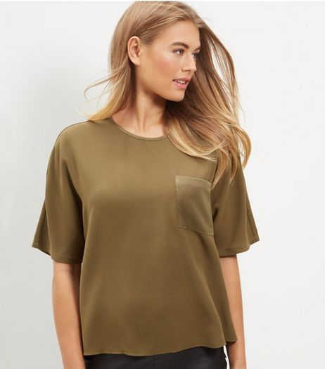 Olive Green Sateen Single Pocket 1/2 Sleeve Top  | New Look