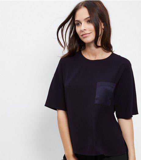 Navy Sateen Single Pocket Front T-Shirt  | New Look