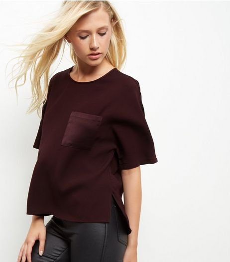 Dark Purple Sateen Single Pocket Front  | New Look