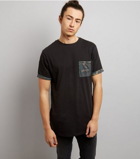 Black Camo Print Pocket And Sleeve T-Shirt | New Look