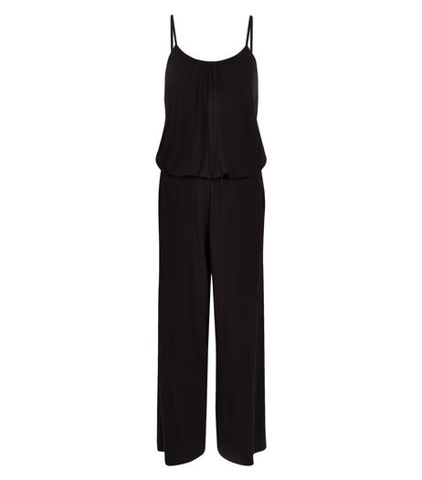 Apricot Black Strappy Wide Leg Jumpsuit | New Look