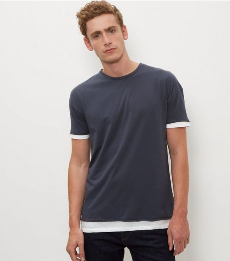 Dark Grey Layered T-Shirt  | New Look