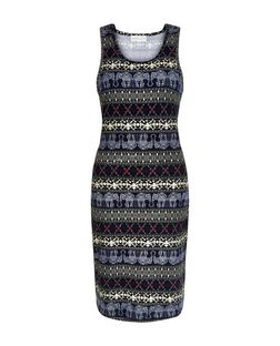 Apricot Navy Elephant Stripe Print Bodycon Dress | New Look