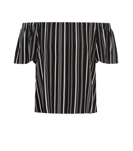 Black Stripe Bardot Neck Top | New Look