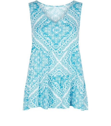Apricot Blue Tile Print V Neck Vest | New Look