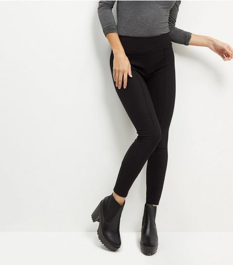 Black Ribbed Seam Front Leggings | New Look