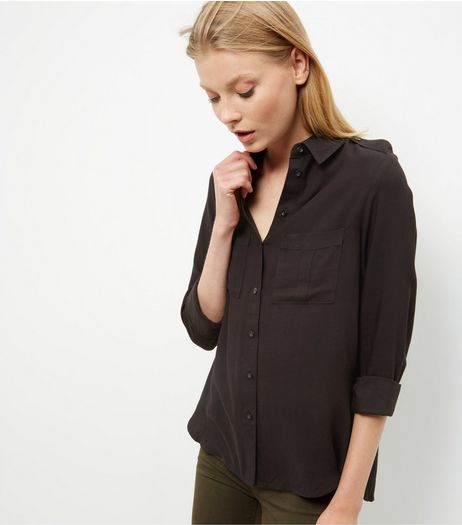 Black Military Long Sleeve Shirt  | New Look