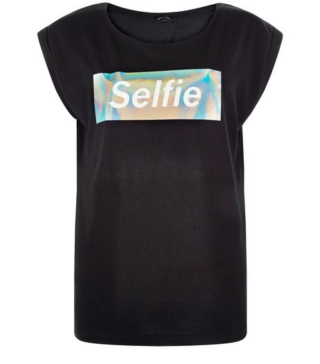 Black Selfie Holographic Box Roll Sleeve T-Shirt  | New Look