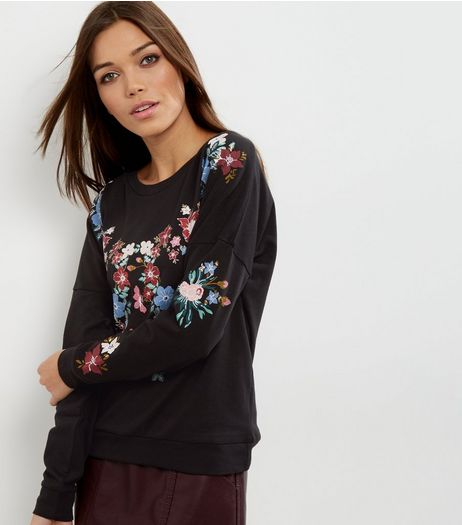 JDY Black Floral Print Sweater  | New Look