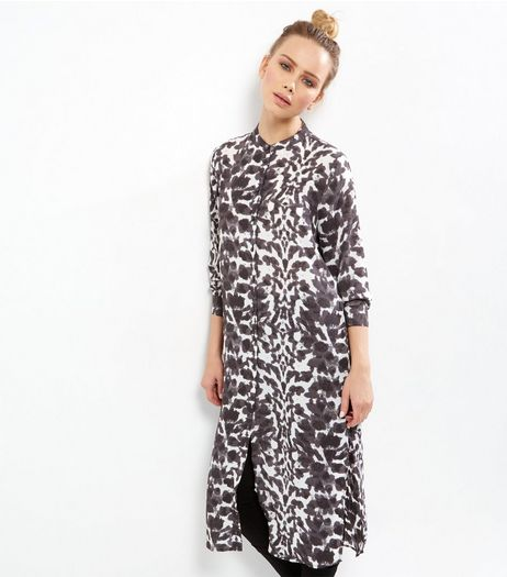 JDY Black Abstract Print Long Sleeve Maxi Dress | New Look