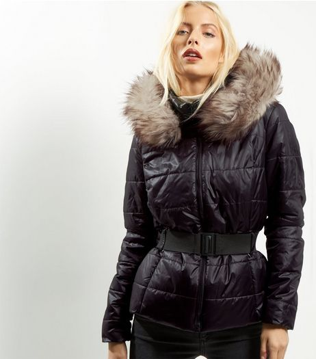 JDY Black Faux Fur Trim Hooded Jacket  | New Look