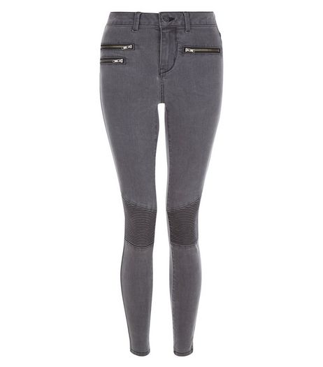 Dark Grey Super Skinny Zip Front Jeans | New Look