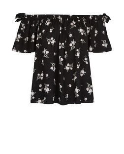 Black Ditsy Floral Bardot Neck Top | New Look