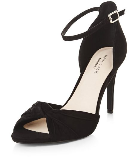 Black Comfort Knotted Front Ankle Strap Heels  | New Look