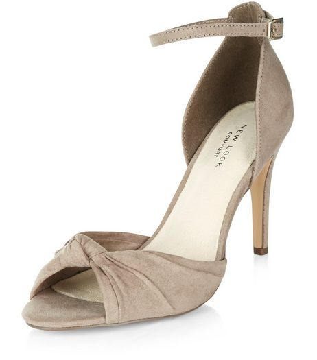 Light Brown Comfort Knotted Front Ankle Strap Heels  | New Look