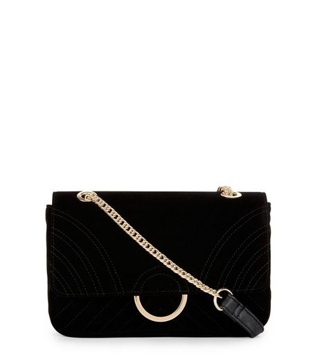 Black Velvet Chain Shoulder Bag  | New Look
