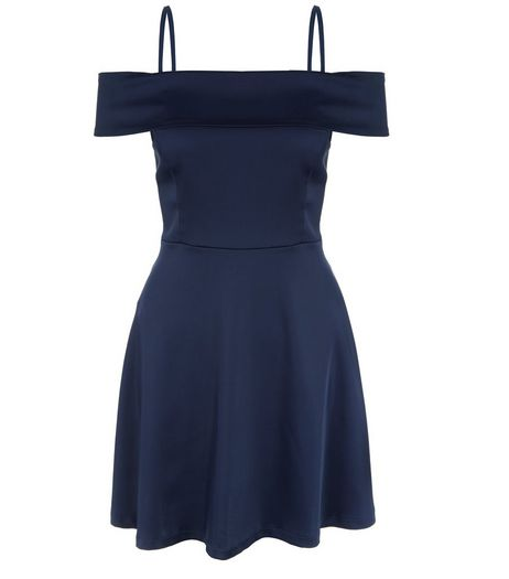 Petite Navy Bardot A-Line Dress | New Look