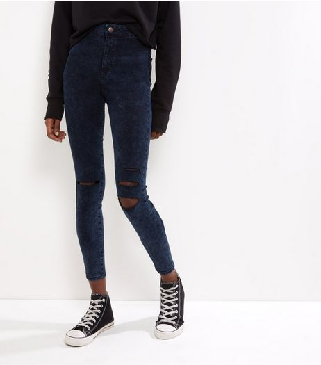 Navy High Waist Ripped Knee Skinny Jeans  | New Look