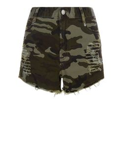 Cameo Rose Green Camo Print Ripped Shorts | New Look