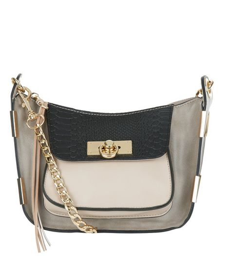 Mink Contrast Pocket Chain Shoulder Bag | New Look