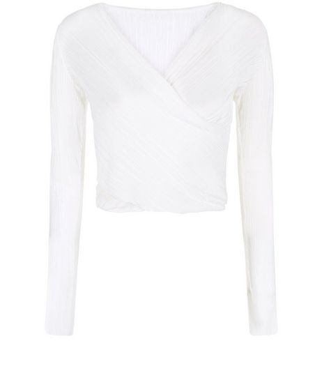 Cameo Rose Cream Pleated Wrap Long Sleeve Top | New Look