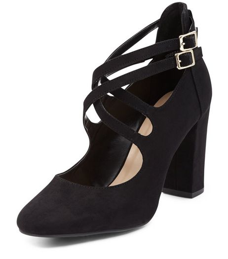 Black Suedette Strappy Block Heels  | New Look