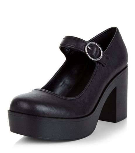 Black Strap Front Platform Block Heels | New Look