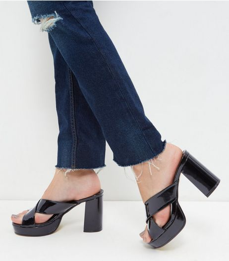 Black Patent Cross Strap Mules | New Look