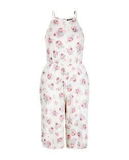 Teens White Rose Print Culotte Jumpsuit | New Look