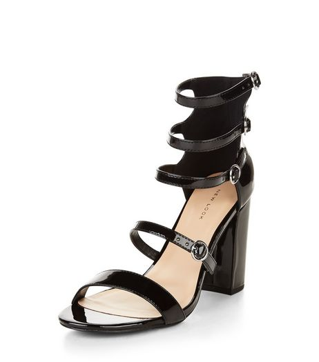 Black Multi Strap Block Heel Sandals  | New Look
