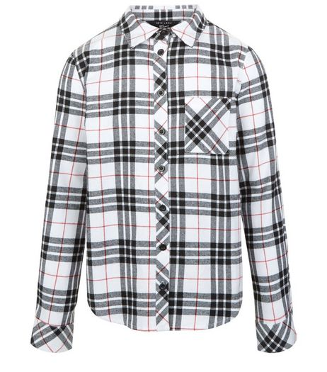 Girls White Check Long Sleeve Shirt | New Look