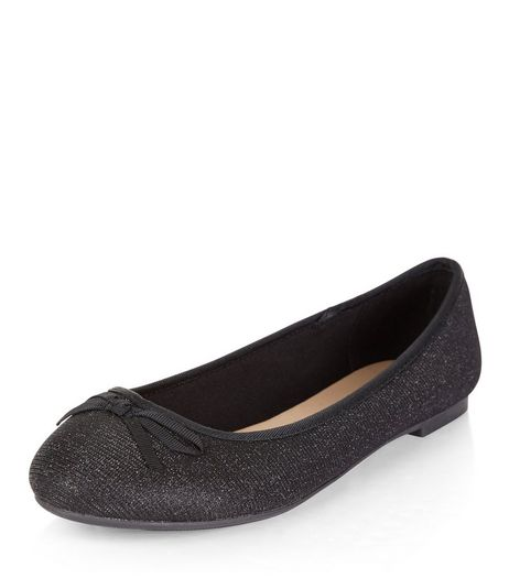 Teens Black Glitter Ballet Pumps | New Look