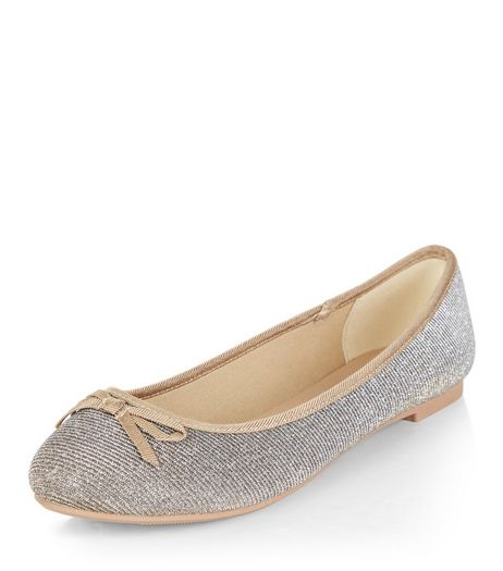 Teens Gold Glitter Ballet Pumps | New Look