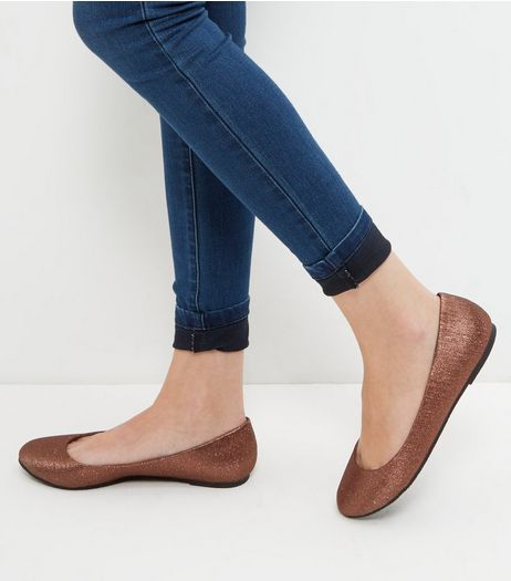 Bronze Shimmer Ballet Pumps  | New Look