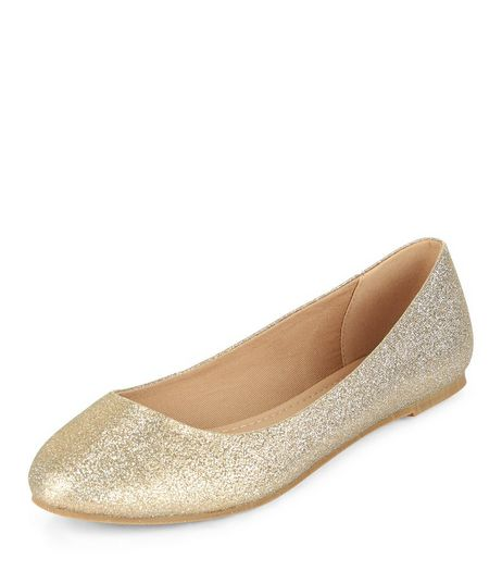 Gold Shimmer Ballet Pumps  | New Look