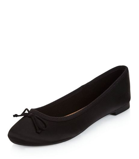 Black Sateen Ballet Pumps  | New Look